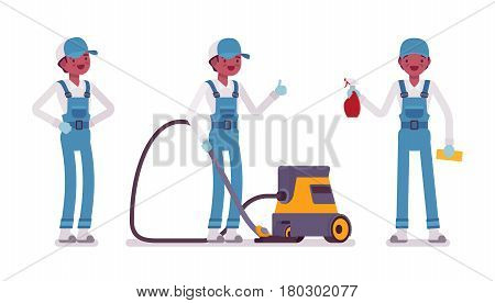 Set of male professional busy janitor in standing pose, young and smiling, wearing blue overall, protective gloves, holding vacuum cleaner, spray bottle, full length, isolated on white background