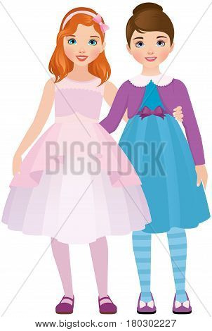 Girlfriend girls in beautiful dresses are hugging Stock vector illustration on a white background