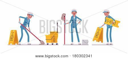 Set of female professional janitor mopping the floor, yellow cleaning bucket, caution wet floor sign, young and happy, wearing blue overall, protective gloves, isolated, white background
