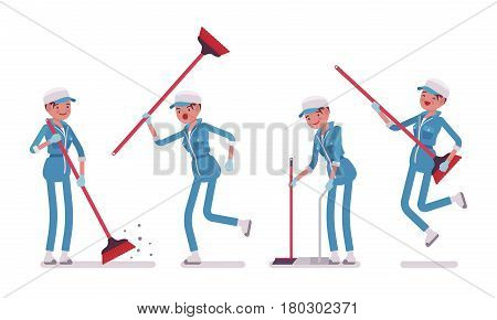 Set of female professional janitor sweeping the floor with a broom, using it as a guitar, young, happy and angry, wearing blue overall, cap, protective gloves, isolated on white background