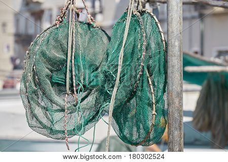 Industrial Fishing Nets On Boat At Port