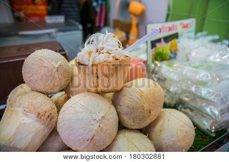 the coconut Ice Cream with nuts in market