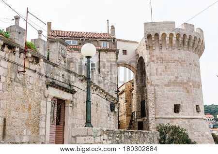 Korcula, Croatia - April 2, 2016: Parts Of The Old Town Of Korcula On The Island Of Korcula, Croatia