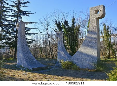 Crni Kal Slovenia - 1st January 2017. The Monument to the Liberation War and to Victims of Fascist Violence also known as the Monument to the Overseas Brigade. A 1966 monument to victims of the second world war