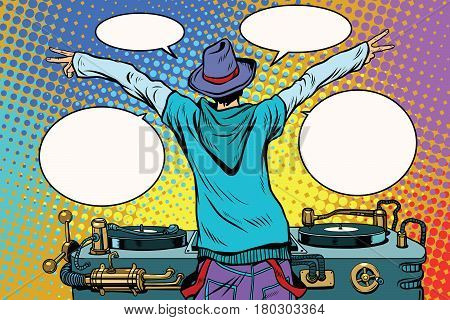 DJ party vinyl panel, view from behind. Pop art retro comic book vector illustration. Music and club