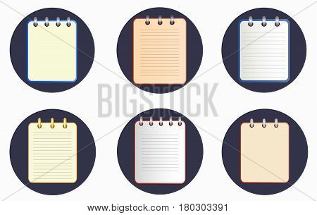 Icon of notebook in six variations on the dark background. Tear-off notepad on the rings with lines and without them. icon in flat style on the white background. Horizontal. Isolated.