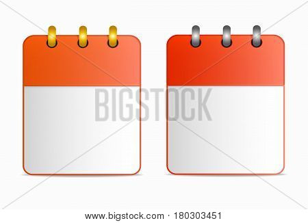 Blank sheet of calendar icon with silver and gold rings in two variants. Vector in flat style. Template can be used for project of websites, for any design, all dates, as reminder, etc. Horizontal.
