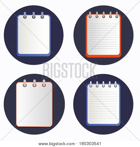Notepads on the rings in four variations. Blank sheet on the dark blue background. School business diary. Template can be used for any design, on web sites. Vector icon in flat style. Square. Isolated.