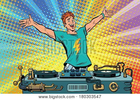 DJ on a club party. Pop art retro comic book vector illustration. Music and concert