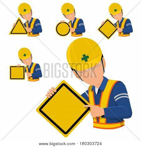 worker holds blank warning sign. 4 types of warning sign. Let you assign your sign on it