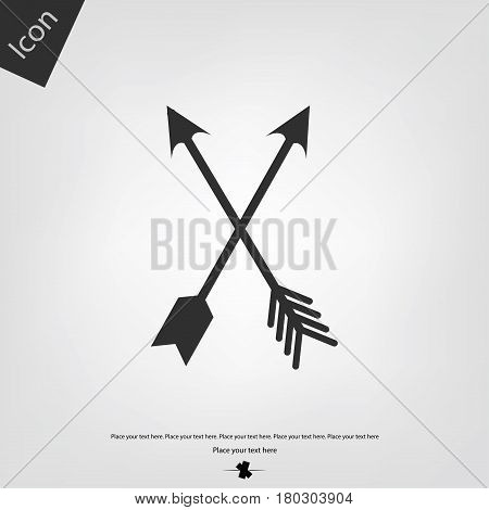 Arrows bow vector icon, gray background. Vector illustration.