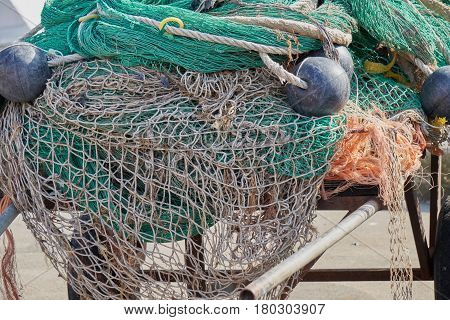 Industrial Fishing Nets At Port