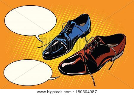 Business meeting classic shoes. Pop art retro comic book vector illustration. The dialogue of businessmen