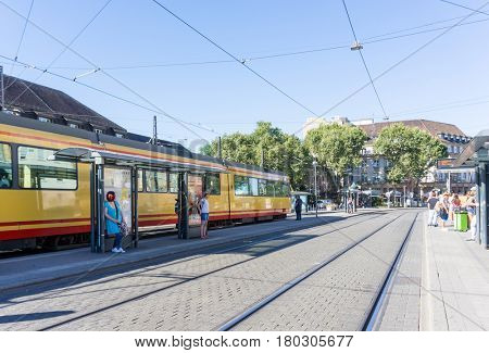 KARLSRUHE, GERMANY - August 25, 2016. Street view of TRAIN STATION in Karlsruhe, Germany, the second-largest city in the state of Baden-Württemberg, in southwest Germany.