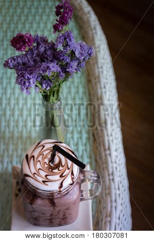 Iced Chocolate On Glass Table Top stock photo