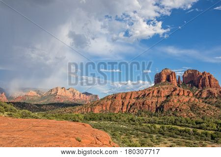 the scenic landscape of cathedral rock near Sedona Arizona