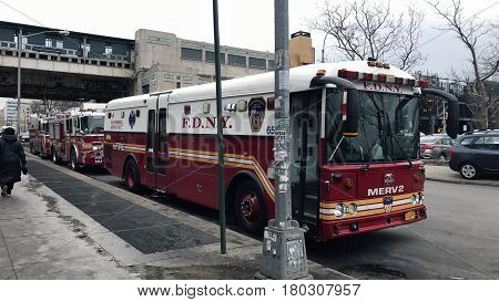 BRONX NEW YORK - MARCH 25: Parked Fire Department Major Emergency Respons Vehicle. Taken March 25 2017 in New York.