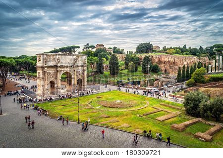 ROME - OCTOBER 1, 2012: Arch of Constantine in Rome, Italy. View from the Coliseum.