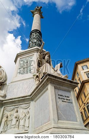 Immaculate column (Colonna Dell'immacolata), Square Piazza di Spagna in Rome