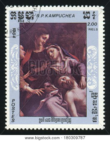 KAMPUCHEA - CIRCA 1984: A stamp printed in Kampuchea Cambodia shows a painting, circa 1984