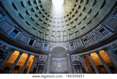 ROME - OCTOBER 2, 2012: The famous light ray in Pantheon. Pantheon is a famous monument of ancient Roman culture, the temple of all the gods built in the 2nd century.