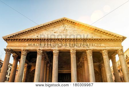 The Pantheon in Rome, Italy. Pantheon is a famous monument of ancient Roman culture, the temple of all the gods built in the 2nd century.