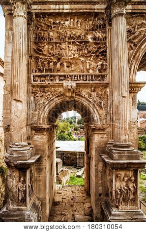 Arch of Emperor Septimius Severus in the Roman Forum in Rome, Italy. Detail with decoration.