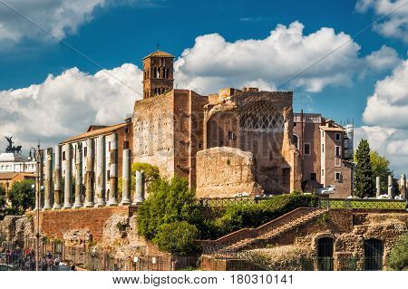 Ruins of the Temple of Venus at the Roman Forum in Rome, Italy