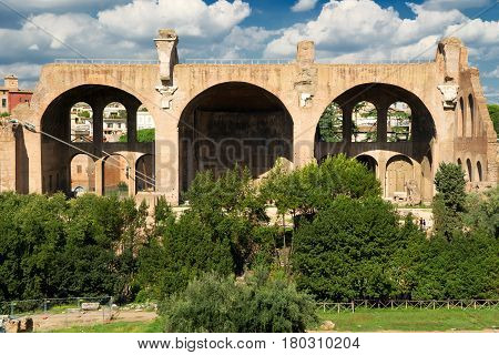 The Basilica of Maxentius and Constantine in the Roman Forum in Rome, Italy