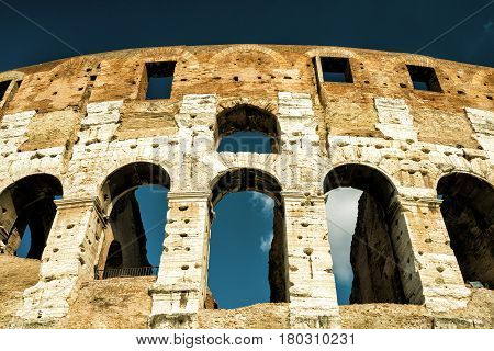 Colosseum (Coliseum) in Rome Italy. Low angle view.