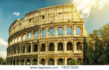 Colosseum (Coliseum) in sunny day in Rome, Italy