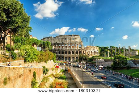 ROME - OCTOBER 4, 2012: Colosseum view. The Colosseum (Coliseum) is a major tourist attraction in Rome.