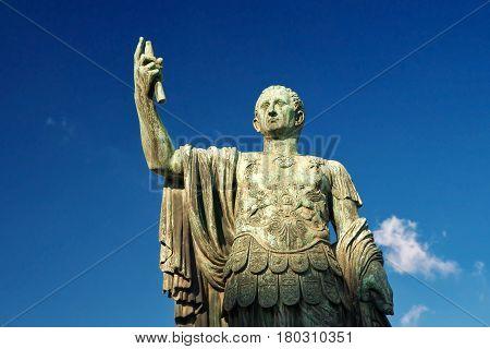 Bronze statue of the emperor Nerva in Rome, Italy