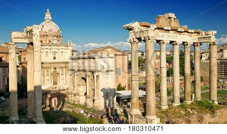 Ruins of Roman Forum in Rome, Italy