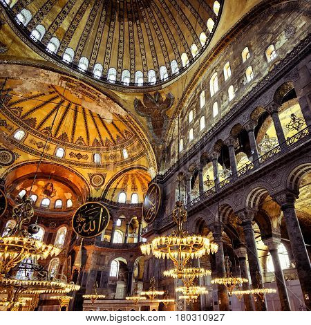ISTANBUL - MAY 25, 2013: Inside the Hagia Sophia. Church of Hagia Sophia is the greatest monument of Byzantine Culture. It was built in the 6th century.
