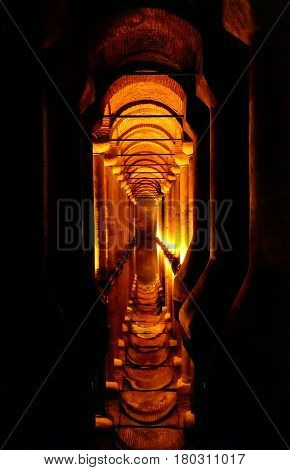 ISTANBUL - MAY 25, 2013: Inside the Basilica Cistern. It is the largest of several hundred ancient cisterns that lie beneath the city of Istanbul (formerly Constantinople).