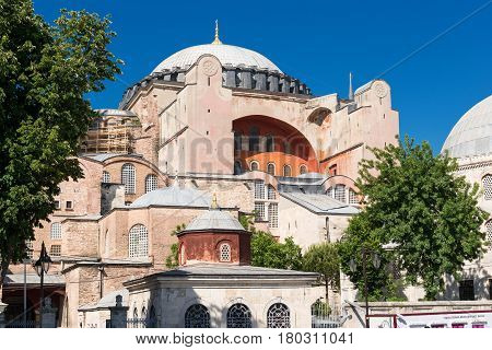 Hagia Sophia in Istanbul, Turkey. Hagia Sophia is the greatest monument of Byzantine Culture.