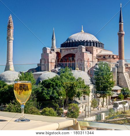 View of the Hagia Sophia from the restaurant Istanbul, Turkey. Hagia Sophia is the greatest monument of Byzantine Culture and tourist attraction.
