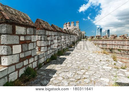 The top of the wall of the Yedikule Fortress in Istanbul, Turkey. Yedikule fortress or Castle of Seven Towers is the famous fortress built by Sultan Mehmed II in 1458.