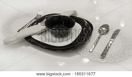 Dinner set for one person for serving of table