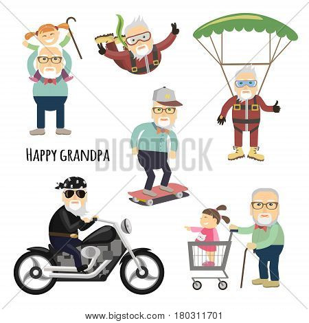 Cool grandpa. Vector set of characters in a flat style.