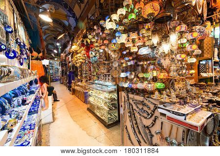 ISTANBUL - MAY 27, 2013: A variety of turkish items offered for sale at the Grand Bazaar in Istanbul, Turkey. The Grand Bazaar is the oldest and the largest covered market in the world with 61 covered streets and over 3000 shops.