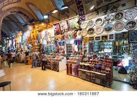 ISTANBUL - MAY 27, 2013: The Grand Bazaar in Istanbul, Turkey. The Grand Bazaar is the oldest and the largest covered market in the world with 61 covered streets and over 3000 shops.