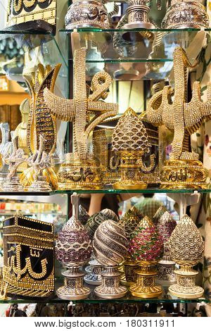 ISTANBUL - MAY 27, 2013: A variety of luxury gifts in the Grand Bazaar in Istanbul, Turkey. The Grand Bazaar is the oldest and the largest covered market in the world with 61 covered streets and over 3000 shops.