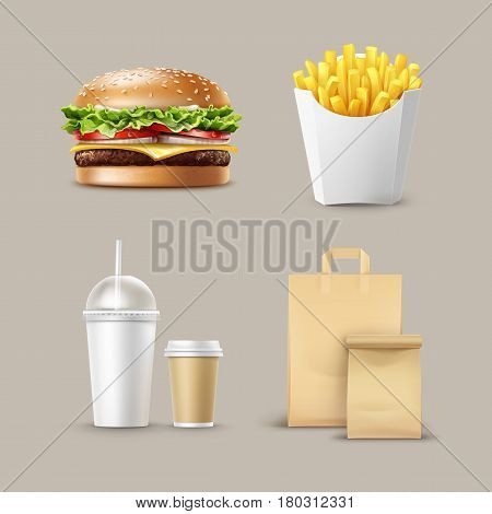 Vector Fast Food Set of Realistic Hamburger Classic Burger Potatoes French Fries in White Package Box Blank Cardboard Cups for Coffee Soft Drinks with Straw and Craft Paper Take Away Handle Lunch Bags.