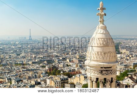 View of Paris from the Sacre Coeur in Montmartre hill