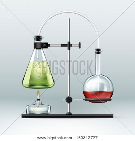 Vector chemical laboratory stand with glass flasks full of green red liquid and alcohol burner isolated on background
