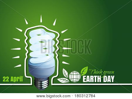 Typographic poster design for Earth Day. 22 April. Earth Day card with energy saving light bulb, plant, leaves, globe on a green background. Vector illustration