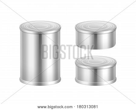 Vector set of big and small steel tin cans isolated on white background