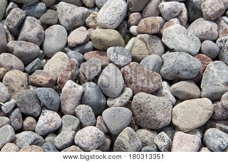 Background of gray stones on a beach